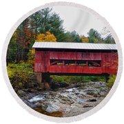 Upper Cox Brook Covered Bridge In Northfield Vermont Round Beach Towel