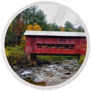 Upper Cox Brook Covered Bridge In Northfield Vermont Round Beach Towel