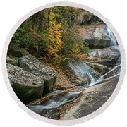 Upper Creek Falls Round Beach Towel