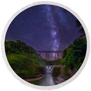 Upper Falls At Night Round Beach Towel