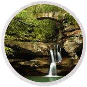 Upper Falls, Hocking Hills State Park Round Beach Towel