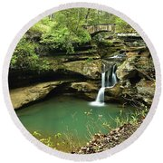 Upper Falls, Hocking Hills State Park 2 Round Beach Towel
