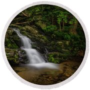 Round Beach Towel featuring the photograph Upper Falls On Doyle River by Ronald Santini