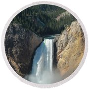 Upper Falls, Yellowstone River Round Beach Towel