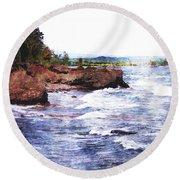 Upper Peninsula Landscape Round Beach Towel