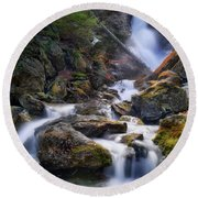 Round Beach Towel featuring the photograph Upper Race Brook Falls 2017 by Bill Wakeley