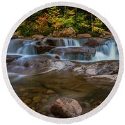 Upper Swift River Falls In White Mountains New Hampshire Round Beach Towel