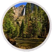 Upper Yosemite Falls From Yosemite Creek Round Beach Towel