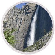 Upper Yosemite Falls Round Beach Towel