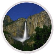 Upper Yosemite Falls Under The Stairs Round Beach Towel