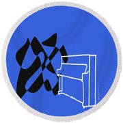 Upright Piano In Blue Round Beach Towel by David Bridburg