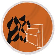 Upright Piano In Orange Round Beach Towel by David Bridburg