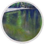 Upriver View Round Beach Towel