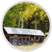 Uptop A Colorado Ghost Town Round Beach Towel