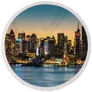 Round Beach Towel featuring the photograph Uptown And Midtown At Sunrise by Francisco Gomez
