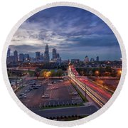 Round Beach Towel featuring the photograph Uptown Charlotte Rush Hour by Serge Skiba