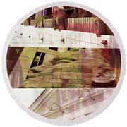 Round Beach Towel featuring the photograph Uptown Library With Color by Susan Stone