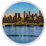 Uptown Skyline At Sunrise Round Beach Towel