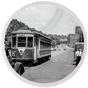 Uptown Trolley Near 193rd Street Round Beach Towel