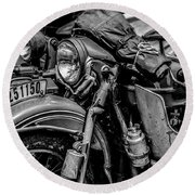 Round Beach Towel featuring the photograph Ural Patrol Bike by Anthony Citro