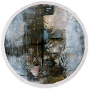 Urban Abstract Cool Tones Round Beach Towel