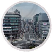 Urban Avenue, Kyoto Japan Round Beach Towel