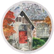 Round Beach Towel featuring the painting Urban  Church Sketching by Lucia Grilletto