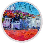 Urban Impression - Bellecour Square In Lyon France Round Beach Towel