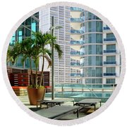 Urban Landscape, Miami, Florida Round Beach Towel by Craig McCausland