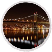 Triboro Bridge Brilliance Round Beach Towel