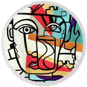 Urban Pop Art - Original Art Print Round Beach Towel