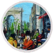 Urban Story - Champs Elysees Round Beach Towel