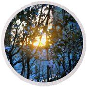 Round Beach Towel featuring the photograph Urban Sunset by Sarah McKoy