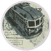 Urban Trams And Old Maps Round Beach Towel
