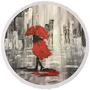 Urban Walk In The Rain Round Beach Towel by Lucia Grilletto