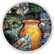 Urn Among The Rocks Round Beach Towel