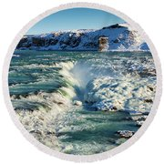 Round Beach Towel featuring the photograph Urridafoss Waterfall Iceland by Matthias Hauser