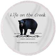 Ursus Americanus - Color Bear Black Text Round Beach Towel
