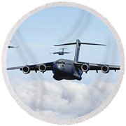 U.s. Air Force C-17 Globemasters Round Beach Towel