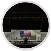 Us Air Force Eq 4 Global Hawk Assigned To The 380th Air Expeditionary Wing Await Routine Maintenance Round Beach Towel