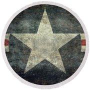 Us Air Force Roundel With Star Round Beach Towel