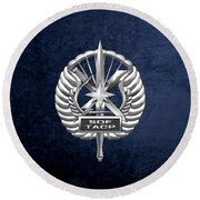 Round Beach Towel featuring the digital art U.s. Air Force Tactical Air Control Party - Special Tactics Tacp Crest Over Blue Velvet by Serge Averbukh