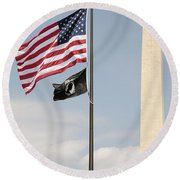 Us And Pow-mia Flags Fly In Washington Dc Round Beach Towel