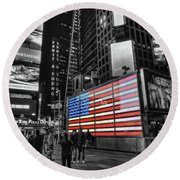 U.s. Armed Forces Times Square Recruiting Station Round Beach Towel