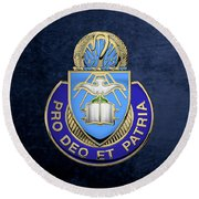 U. S. Army Chaplain Corps - Regimental Insignia Over Blue Velvet Round Beach Towel