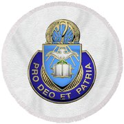 Round Beach Towel featuring the digital art U.s. Army Chaplain Corps - Regimental Insignia Over White Leather by Serge Averbukh
