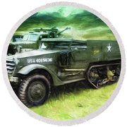 U.s. Army Halftrack Round Beach Towel by Michael Cleere