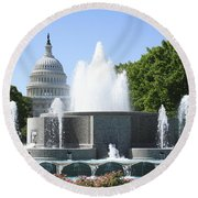 Us Capitol And Fountain In Washington Dc Round Beach Towel
