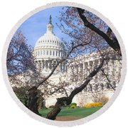 Us Capitol Building And Cherry Round Beach Towel by Panoramic Images