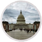 U.s. Capitol Building Round Beach Towel